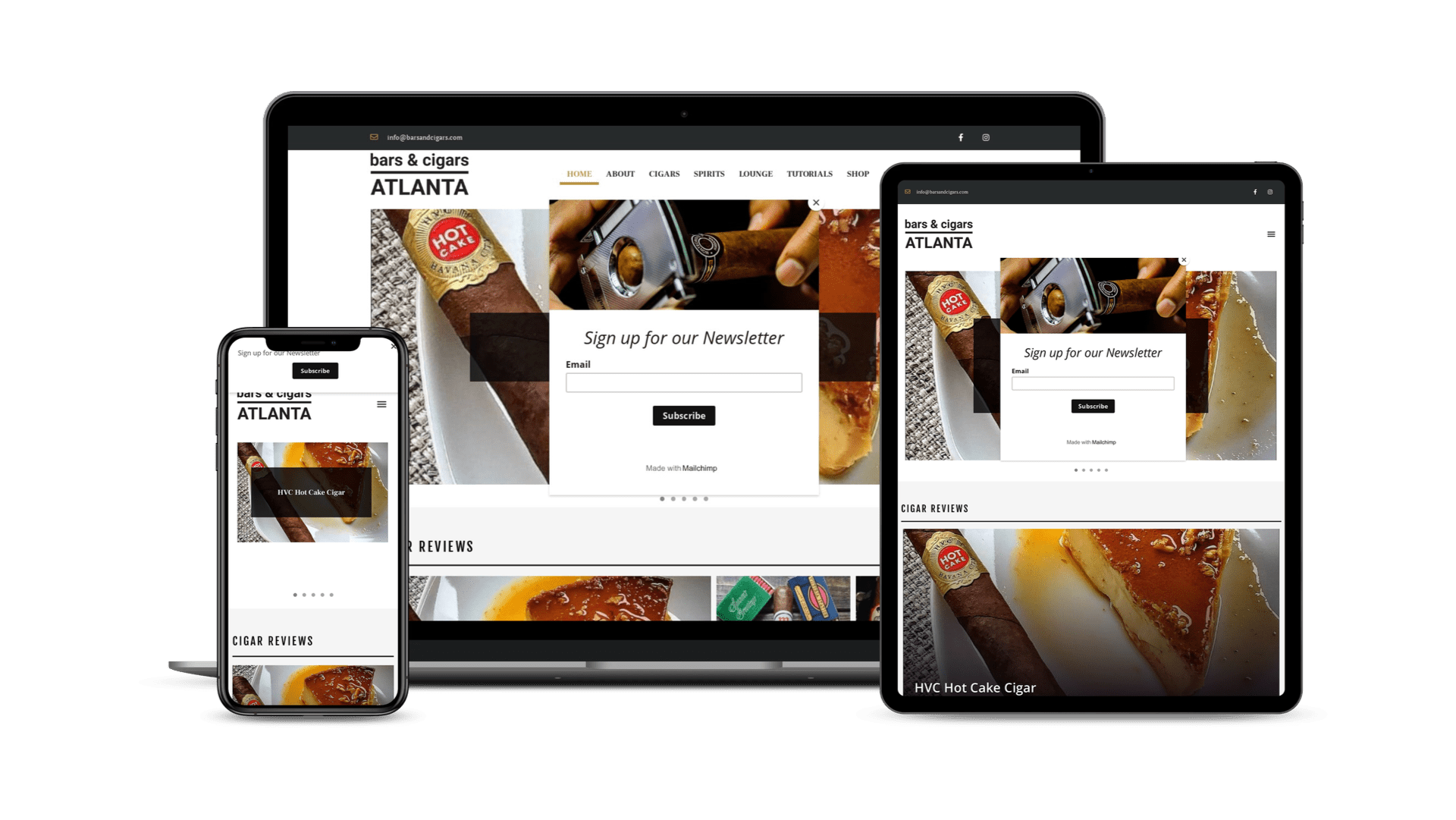 The Urban Geeks - Client - Bars and Cigars Website